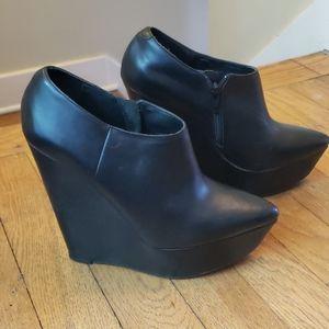 Aldo Leather Wedge Booties